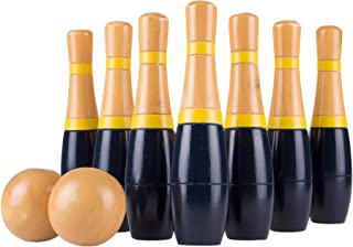 Lawn Bowling Game/Skittle Ball- Indoor and Outdoor Fun for Toddlers, Kids, Adults –10 Wooden Pins, 2 Balls, and Mesh Bag Set by Hey! Play! (8 Inch), Navy - 8""