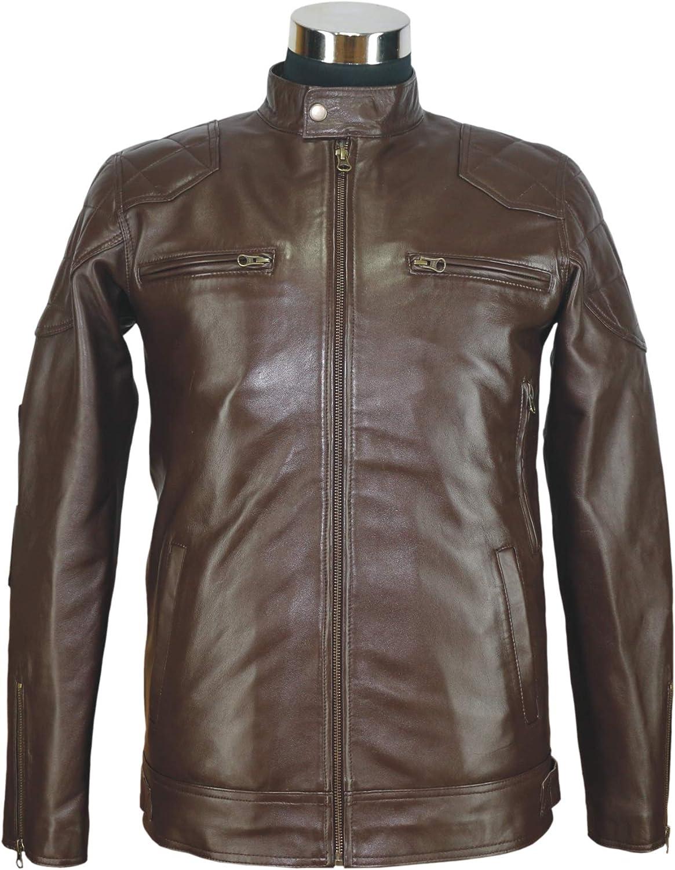 WhitePilotShirts David Beckham Stannard Style Quilted Leather Jacket Brown Mens Padded Motorbike Gents