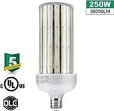 250W LED Corn Bulb Light 36000Lm 5000K Daylight 1000W Metal Halide Replacement E39 Mogul Base Warehouse Highbay Gym Retrofit Light AC100-277V UL DLC Listed