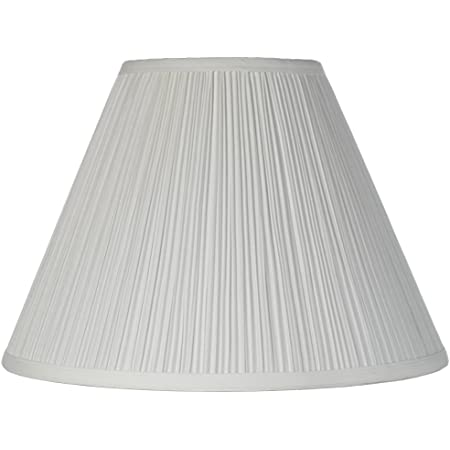 """Brentwood White Medium Lamp Shade 6.5"""" Top x 15"""" Bottom x 10.5"""" High x 11"""" Slant (Spider) Replacement with Harp and Finial - Brentwood"""