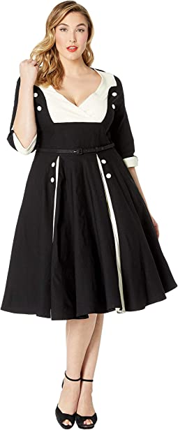 Plus Size Retro Style Sleeved Lydia Swing Dress
