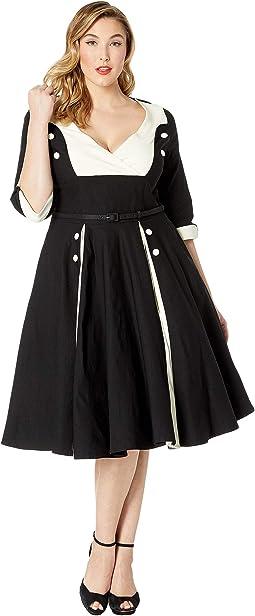 Plus Size Retro Style Sleeved Lydia Swing Dress