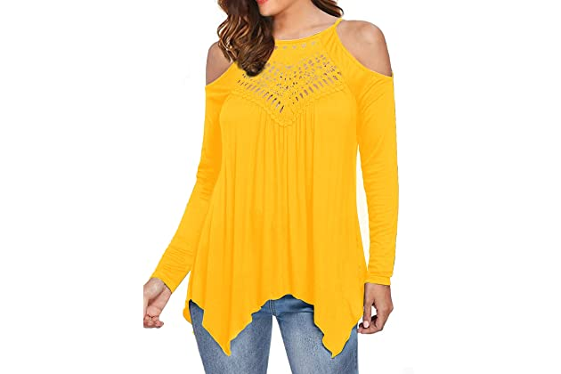 f4170d8f26410 MIHOLL Women's Casual Tops Lace Off Shoulder Long Sleeve Loose Blouse Shirts