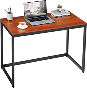 Alecono Small Computer Desk 39 Inch Office Desk for Small Space Simple Modern Desk Home Workstation Office Tiny Desk Student PC Gaming Table with Metal Frame Brown