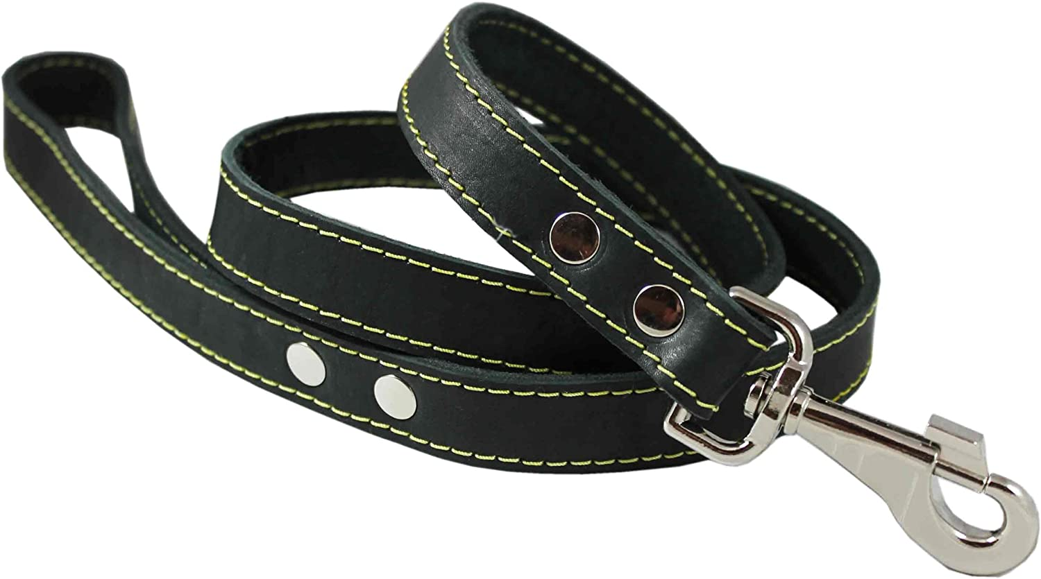 4' Classic Genuine Leather Dog Leash 1  Wide for Largest Breeds Black