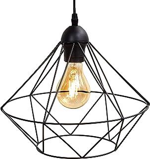 B.K.Licht I Colgante I Lámpara para colgar I Lámpara de hilo I 1 llama I Toma E27 máx. 40 Watt I Vintage I Acero I Negro I Ø320mm I Longitud: 1100mm