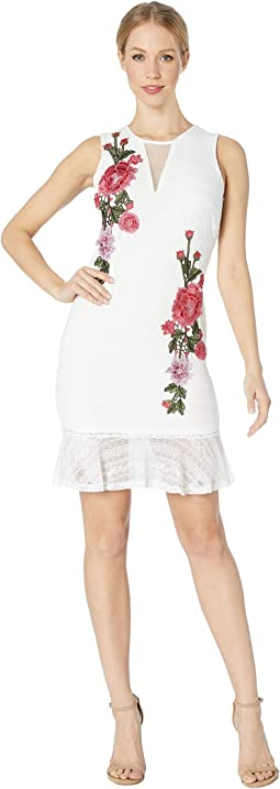 Knit Sheath Rose Applique Dress