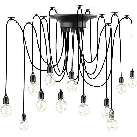 Lovebay Éclairage Plafond Araignée vintage Lustre Lampe, Lustres Araignée Luminaire Suspendu 1.8m Ajustable E27 Industriel Spider Lampe pour Salon Chambre Restaurant Café Bar, 12 Têtes, pas d'ampoules