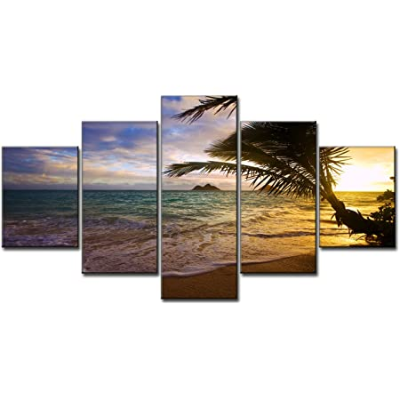 Amazon Com Beach Ocean Painting On Canvas 5 Piece Wall Art Modern Landscape Scenery Sunset Seascape Posters And Prints Pictures For Living Room Bedroom Gallery Wrapped Canvas Art Set Framed 60 W X 32 H Posters
