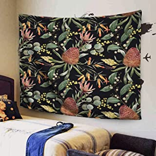 KIOAO 60x50 Inches Tropical Floral Print Orange Flowers Eucalyptus Leaves Blooming Tropical Dark Background Protea Mimosa Wallpaper Tapestry for Dorm Wall Hanging and Home Bedroom Living Room Art
