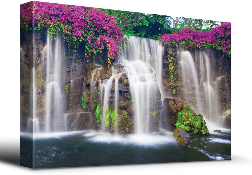 wall26 Misty Waterfall Picturesque Flowers - Canvas Art Home Art - 24x36 inches