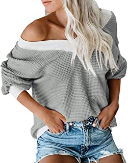 MILIMIEYIK Womens Long Sleeve Tshirt V Neck Loose Fit Soft Waffle Knit Thermal Tops