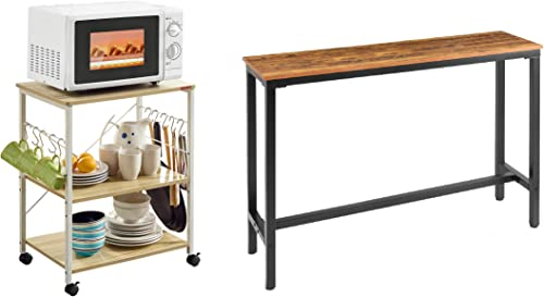"""new arrival Mr IRONSTONE 3-Tier Kitchen Baker's Rack Utility Microwave Oven Stand Storage Cart Workstation sale Shelf & 55.1"""" Bar Table Pub new arrival Dining Height Table Vintage Bistro Table sale"""