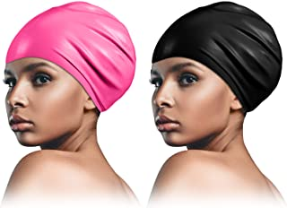 2 Piece Long Hair Swimming Cap for Man and Woman Durable...
