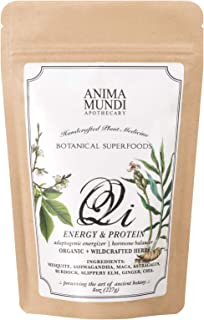 Anima Mundi Qi Energy + Protein Superfood Powder - Adaptogenic Superpowder Blend with Ashwagandha, Maca + Slippery Elm (8oz / 227g)