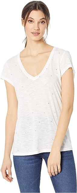 Star Studded Short Sleeve V-Neck
