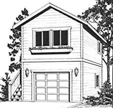 Garage Plans: One Car, Two Story Garage with Apartment, Outside Stair - Plan 910-1