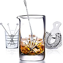 Cork & Mill Cocktail Mixing Glass Set, 24 oz (700 ml), Hand Cut Crystal, 8 Piece Bar Tools Set Includes Drink Beaker, Strainer, Bar Spoon, Jigger, and 4 Cocktail Picks