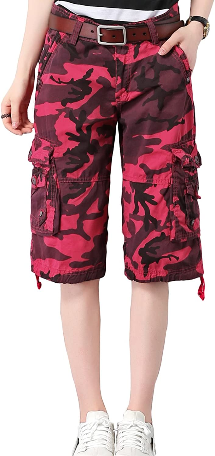 HOW'ON Women's Cotton Casual Loose Straight Leg Camouflage Bermuda Cargo Shorts