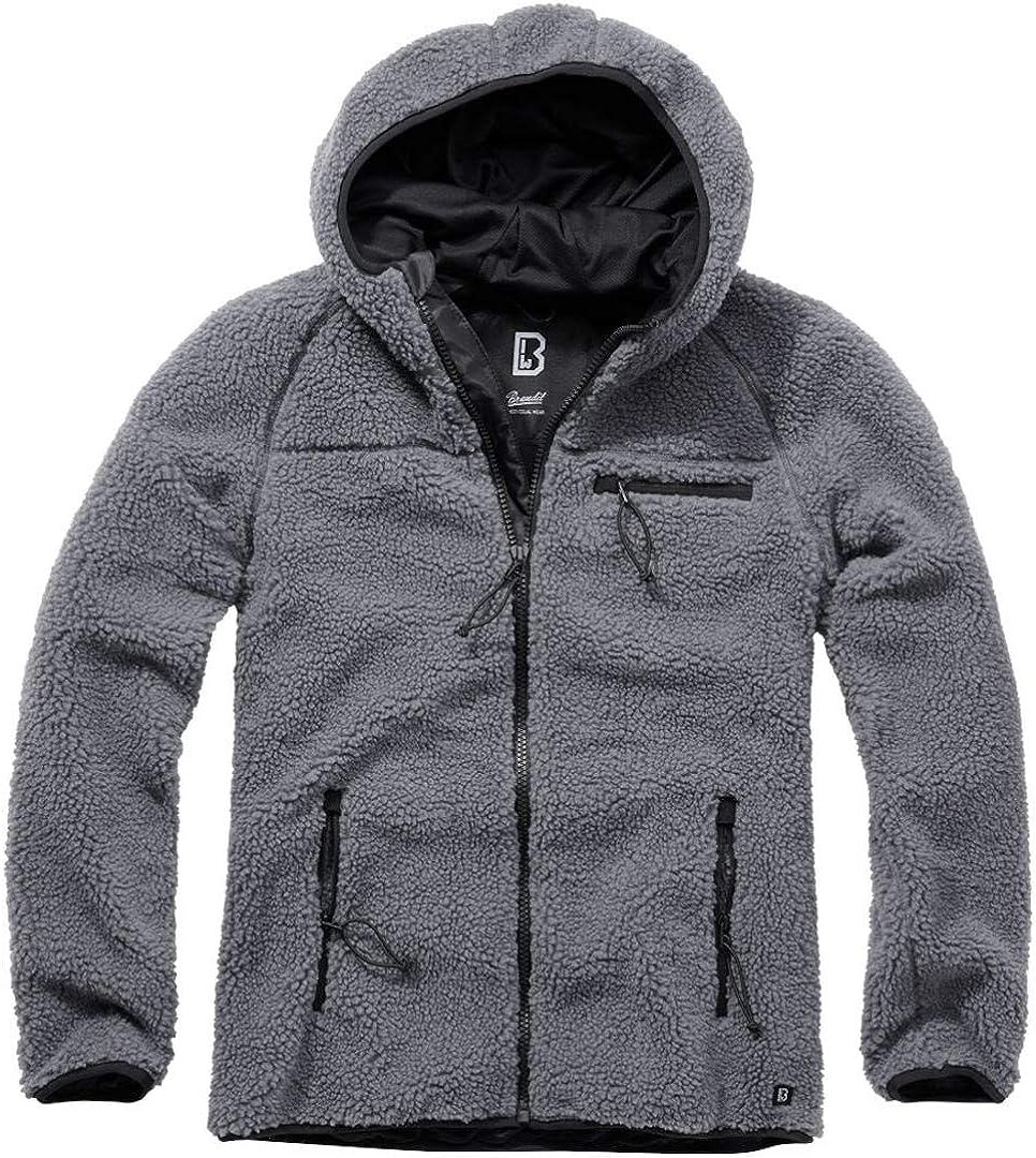 Brandit Men Fleece Jacket Teddyfleece Worker, Color:Anthracite, Size:M