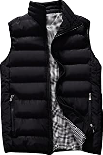 Men's Thicken Classic Sleeveless Stand Collar Solid Color Side Pockets Quilted Puffer Vest Outwear