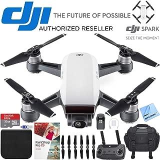 DJI Spark Portable Mini Quadcopter Drone Alpine White Bundle with Sandisk 32GB Memory Card, 16GB Flash Drive, Camera Bag for DSLR and Paintshop Pro 2018