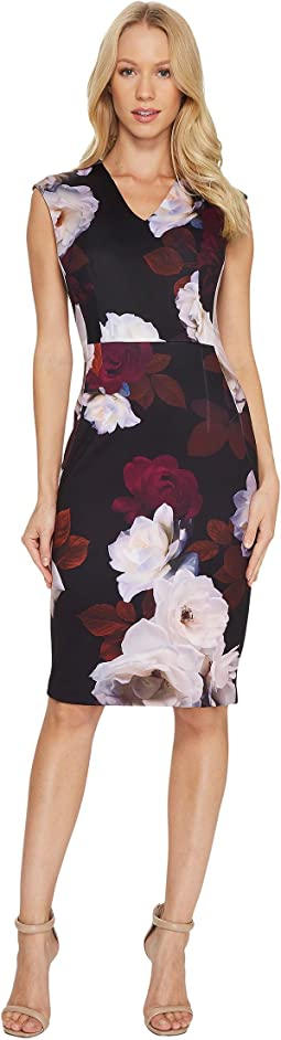 Calvin Klein - V-Neck Floral Sheath Dress CD7M38AV
