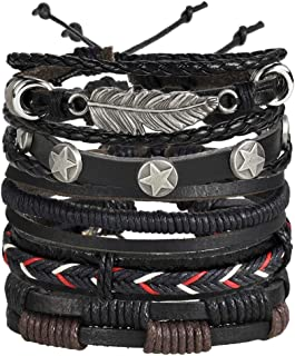University Trendz Black Base Metal Leather Dyed Rope Multi Strand Wrist Band Bracelet for Men and Women (Set of 5)