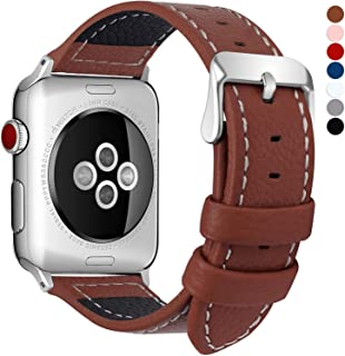 Fullmosa Compatible Apple Watch Bands 42mm and 38mm, 15 Colors for Jan Series Lichi Texture Calf Leather Band Replacement Strap/Band/Bracelet for iWatch Series 1, Series 2, Series 3 Sport and Edition 2015 2016 2017