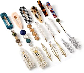 20Pcs Hair Clips Barrettes for Women Assorted Pearl Acrylic Crystal Hair Clip Pins Hairpins Fashion Hair Styling Accessories