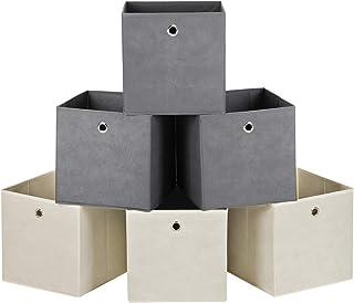 SONGMICS Lot de 6 Boîtes de Rangement, Cubes de Rangement Pliables en Tissu Non Tissé, Coffret de Rangement pour Jouets, 3...