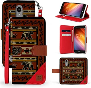 Beyond Cell Synthetic Leather Wallet Case (Bear Lodge Pattern) Compatible with LG Aristo 3, Tribute Empire, Rebel 4, Phoenix 4 with Tempered Glass Screen Protector and Atom Cloth