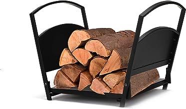 Mind Reader LOGH-BLK Lareira de lenha, interno/externo, 43 cm, prateleira de armazenamento de madeira, suporte de madeira ...