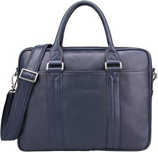 Banuce Blue Leather Briefcase for Men Women Shoulder Handbags Business Work Tote Messenger Bag 14 Inch Laptop Attache Case