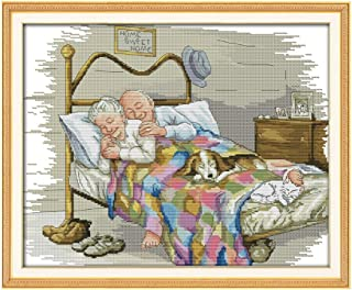 Decdeal Cross-Stitching, 17.3 14 inches The Old Married Couple Pattern Cross Stitch Kit with Pre-printed 14CT Canvas Cloth & Cotton Thread Embroidery Home Wall Decor