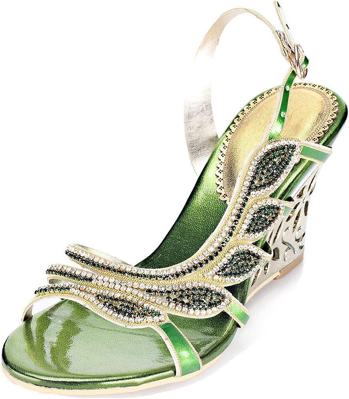 YooPrettyz Jewel Embellished Evening Wedge Sandals Cutout Dress Slingback Dress Wedge Heels
