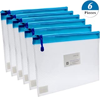 Zipper File Bags,izBuy 6Pcs A4 Size Zipper Water-Resistant PP Document Bags with Label Pocket Organizer for Term Papers,Document,Newspapers,Business Receipts,Magazines Storage