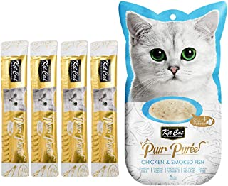 Kit-Cat Purr Puree Chicken & Smoked Fish Wet Cat Treat Tubes 4x15g