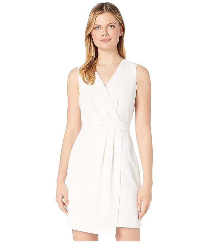 Vince Camuto  Sleeveless Parisian Crepe Pleat Front V-Neck Dress (Pearl Ivory) Womens Dress