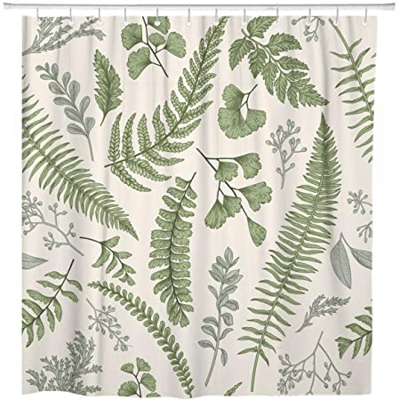 Amazon Com Emvency Shower Curtain Waterproof Adjustable Polyester Fabric Leaf Ferns Vintage Botanical Black And White Field Forest Beautiful Classic 72 X 72 Inches Set With Hooks For Bathroom Home Kitchen