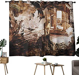 Mannwarehouse Brown and White Customized Curtains Ancient Building with Animals Lion Hawk and Turtle Illustration 70%-80% Light Shading, 2 Panels,63
