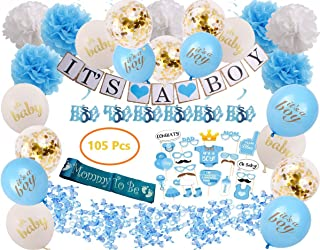 Baby Boy Shower Decorations, 105 Pcs   Includes Pom Poms, Banner, Hanging Swirls, Photo Booth Props, Acrylic Pacifiers, Sash and Blue, White and Confetti Balloons Decor Kit, Easy to Assemble