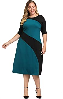 Women's Plus Size Stylish Contrast Ponte Dress - Knee Length Casual and Work Dress