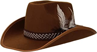 COWBOY HAT W/FEATHERS - CHILD SIZE - BROWN