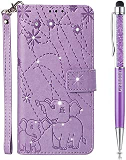 Lucifa Case for Huawei P8 Lite 2017 / Honor 8 Lite,[Elephant Series] Bling Sparkly Diamonds Gems Premium PU Leather Magnetic Flip Cover with Card Holders Wallet Case Full Protection (Purple)