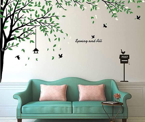 Fymural Large Brids Tree Wall Stickers Art Mural Wallpaper For Livingroom Kid Baby Nursery Background Vinyl Removable DIY Decals 116 9x70 9 Black Green