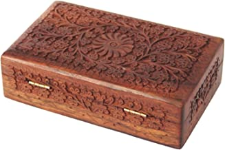 Valentine Day Special Present, Wooden Flower Carving Design Jewelry Box, Multipurpose Keepsake Storage Box, Earring Box, Jewelry Organizer Box, Vintage Box, Brown Color Size 8 X 5 Inch