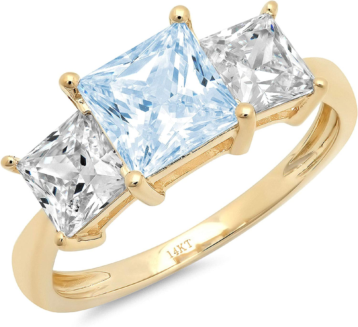 3.0ct Brilliant Princess Cut 3 Stone Solitaire with Accent Natural Swiss Blue Topaz Gemstone Ideal VVS1 Engagement Promise Anniversary Bridal Wedding Ring 14k Yellow Gold