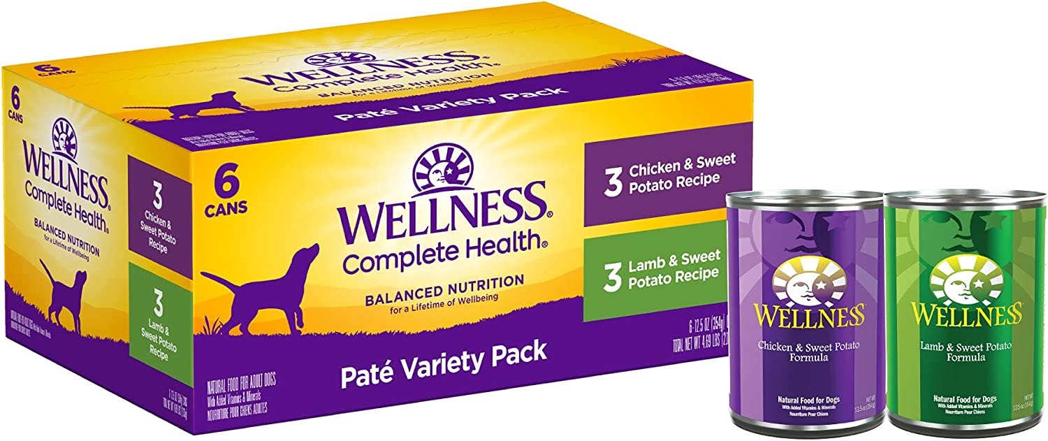 Wellness Natural Pet Food Wet Canned Dog Food, Pate Variety Pack, 12.5 Ounce Can (Pack of 6)