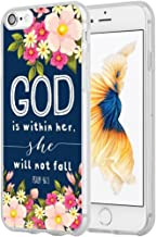 7 Case Christian Sayings,Hungo Soft TPU Silicone Protective Cover Compatible with iPhone 7/8 God is Within Her She Will Not Fall Psalm Bible Verse Songs Rubber